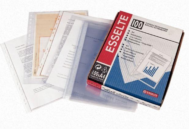 Caja 100 fundas multitaladro A4 rugoso mod.46115