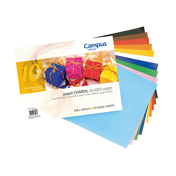 Bloc papel charol Campus University 10 colores