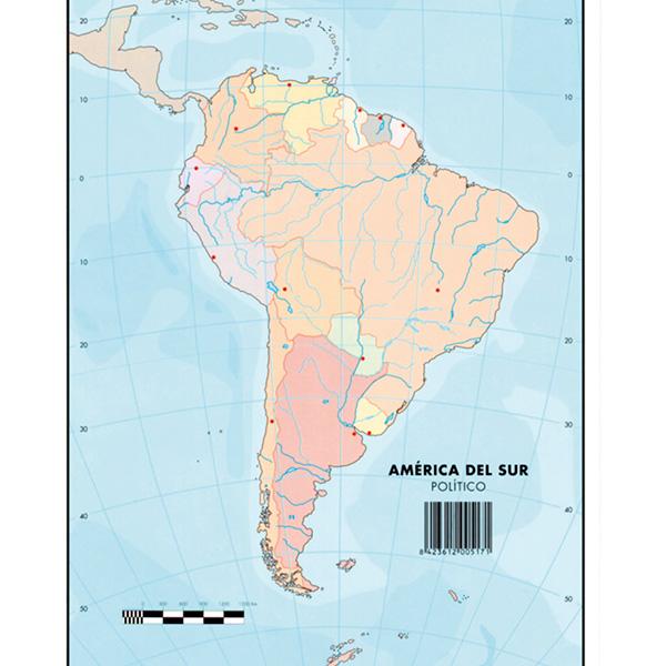 Mapas Mudos Makro Paper America del Sur Fisico