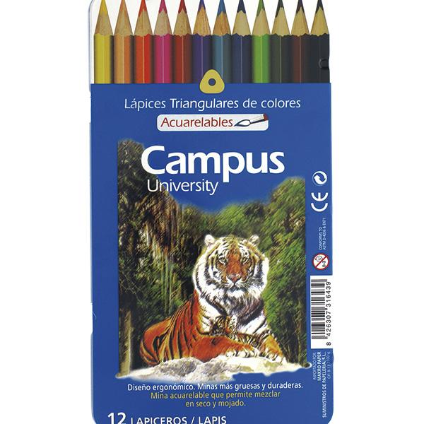 Lápices de colores Campus University acuarelables 12 uds