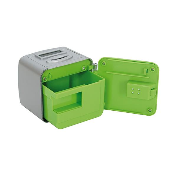 Caja seguridad pequeña. Gris/verde
