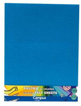 Fieltro Campus College 160gr A4 Bolsa 3u Azul Claro