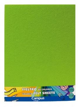Fieltro Campus College 160gr A4 Bolsa 3u Verde Claro