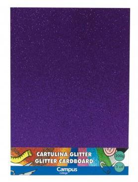 Bolsa 3 cartulinas Glitter 200 gr A4 Violeta