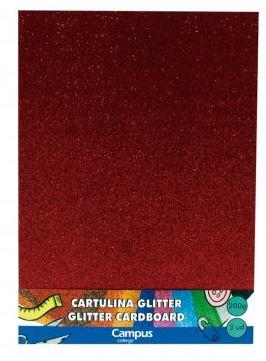 Bolsa 3 cartulinas Glitter 200 gr A4 Rojo