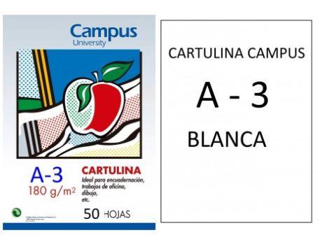 Paquete 50 cartulinas bancas A3 180grs
