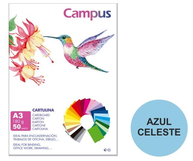 Paquete 50 cartulinas Campus A3 azul celeste