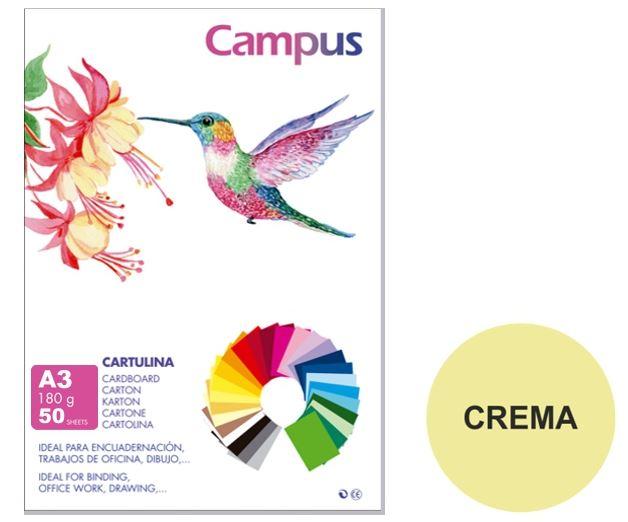 Paquete 50 cartulinas Campus A3 180g crema