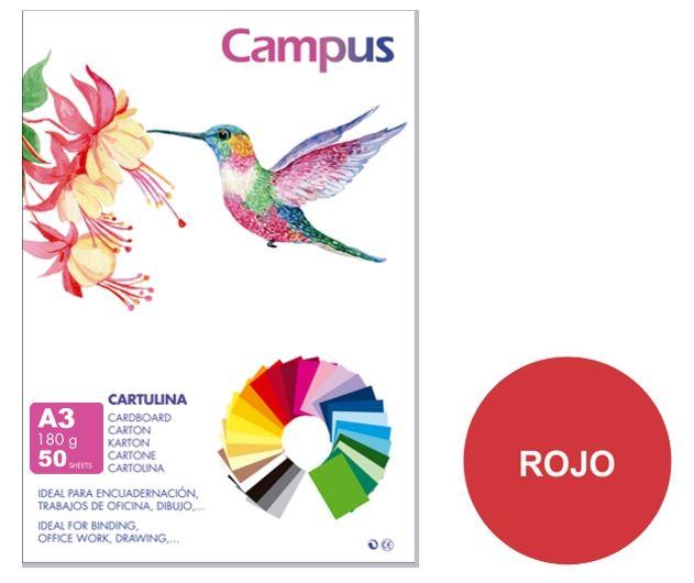 Paquete 50 cartulinas Campus A3 180g roja