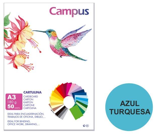 Paquete 50 cartolinas Campus A3 180g azul turquesa
