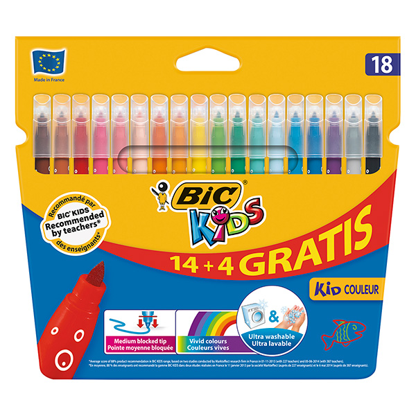 Rotuladores Bic Kids Coleur 14+4 colores
