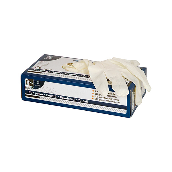 Guantes látex 100% con polvo powdered talla M C/100 unid