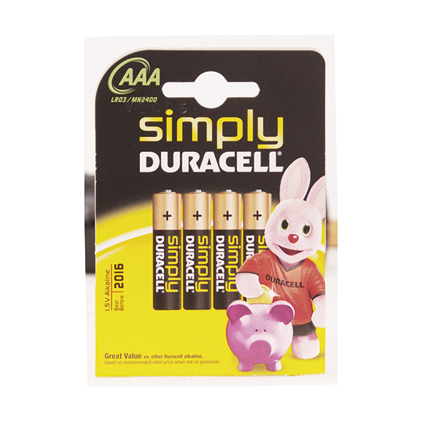 AAA Simple Blister 4 piles Lr03 Duracell