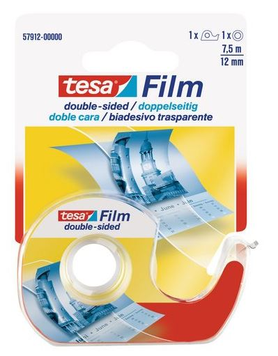 Cinta adhesiva doble cara 12.5mm x 7.5m transp.