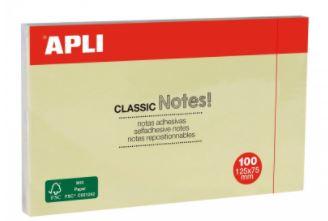 Notas adhesivas Apli 125x75mm amarillo