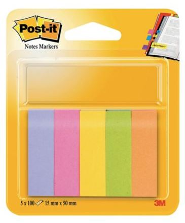 Pack 5 mininotas Post-it neón 15x50mm
