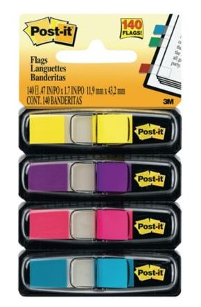Pack 4 dispensadores Post-it Index colores brillantes 4x35