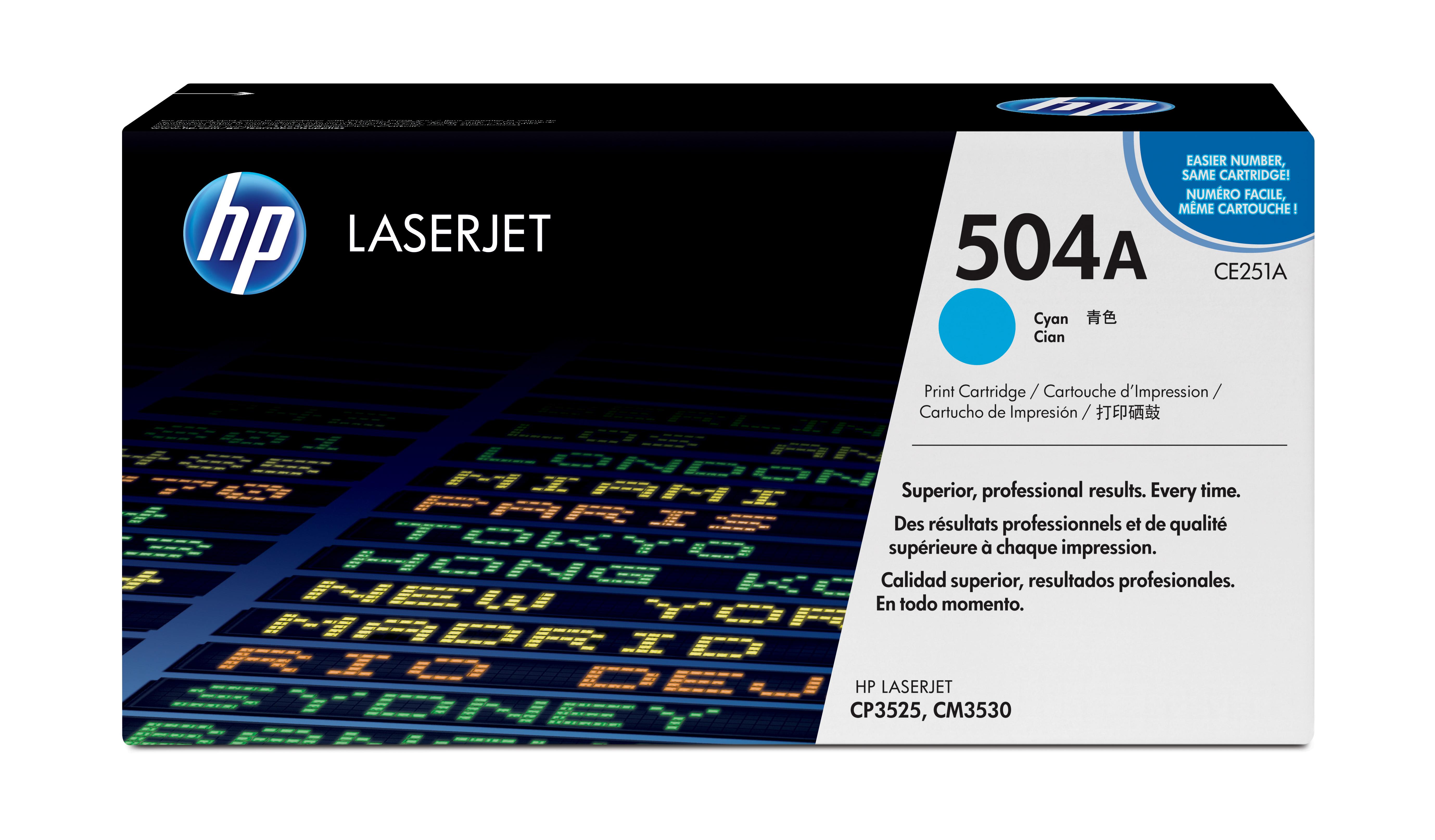 Toner láser HP 504A (CE251A) Cyan