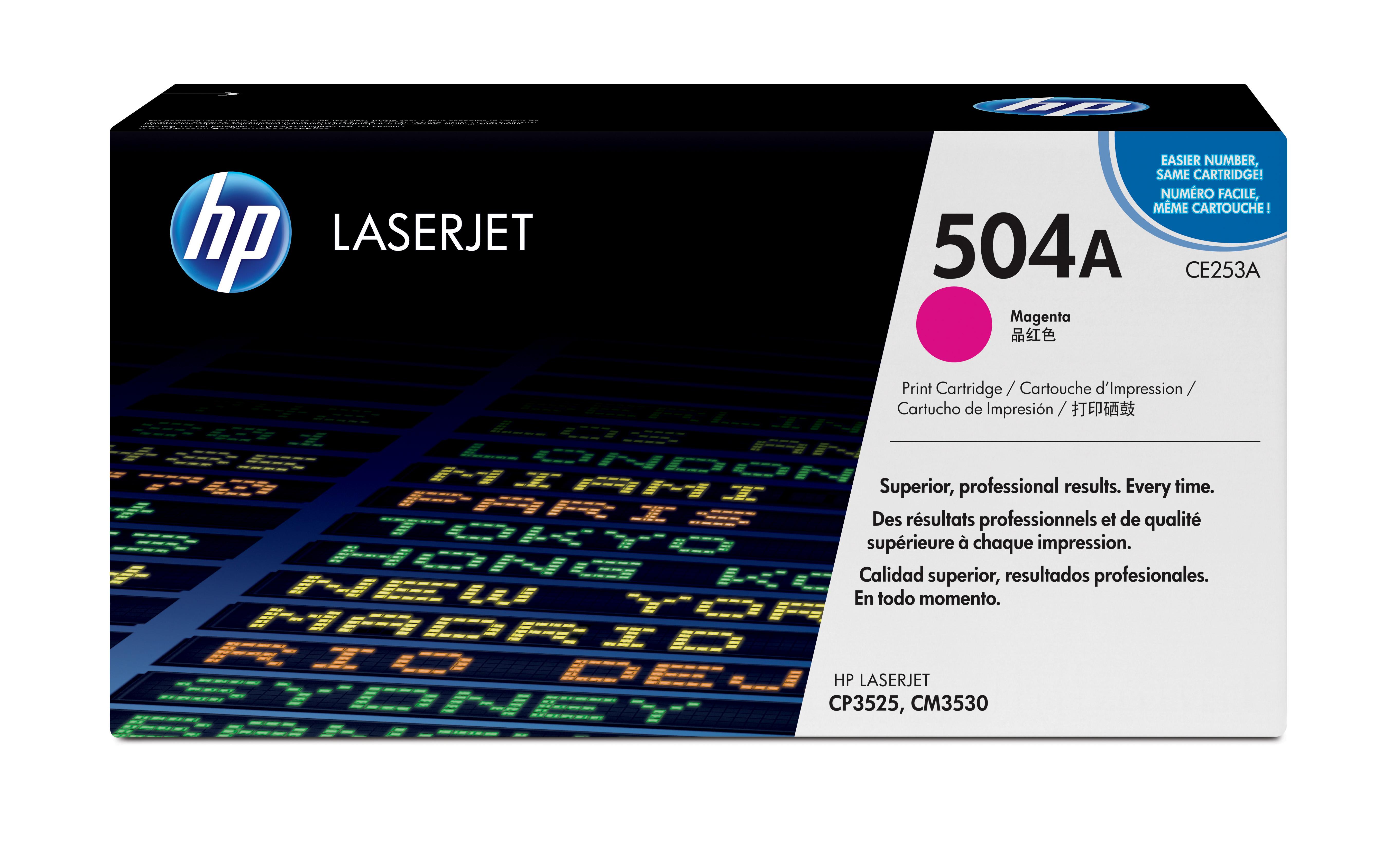 Toner láser HP 504A (CE253A) Magenta