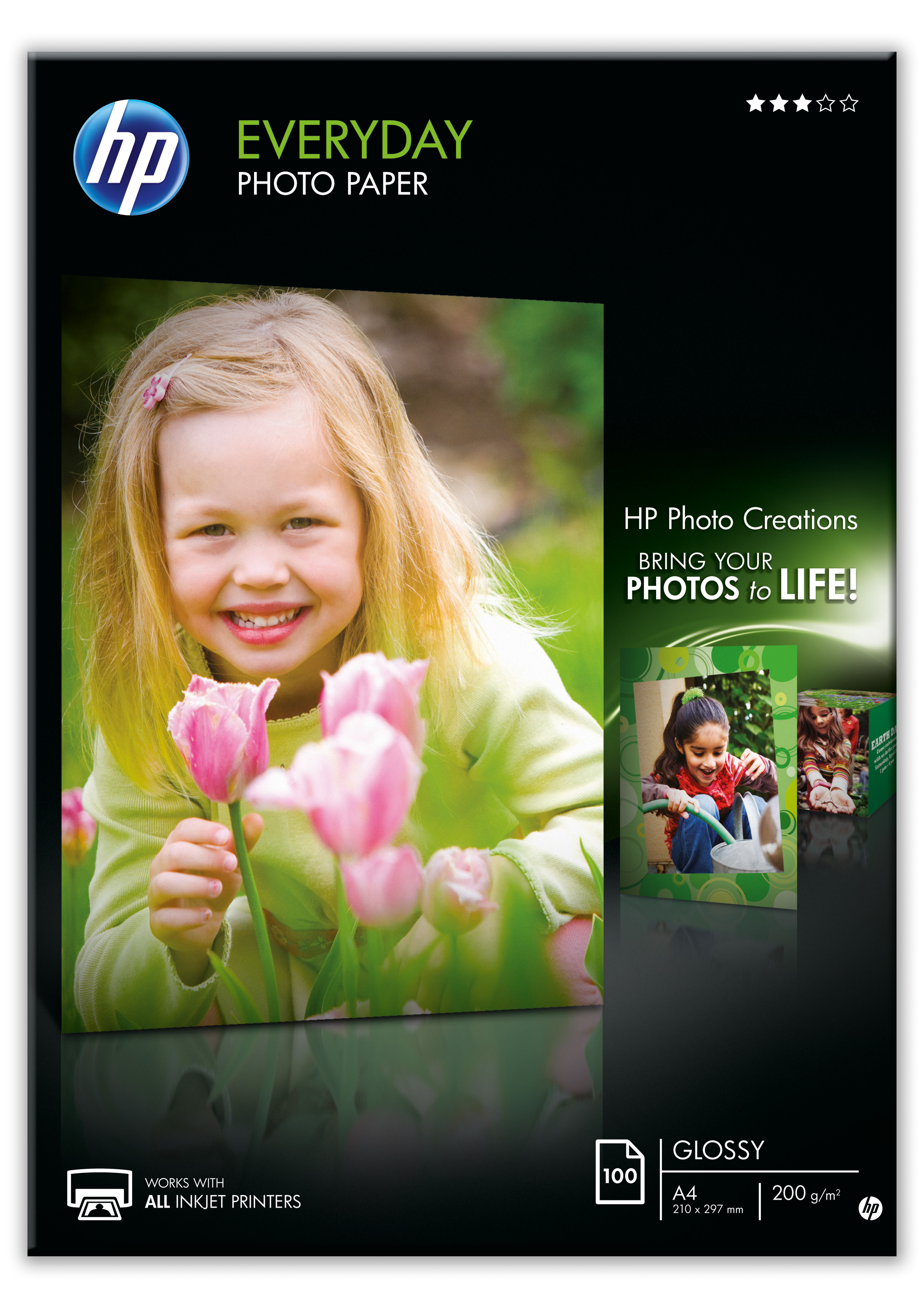 Papel fotográfico HP uso diario inkjet A4 100h