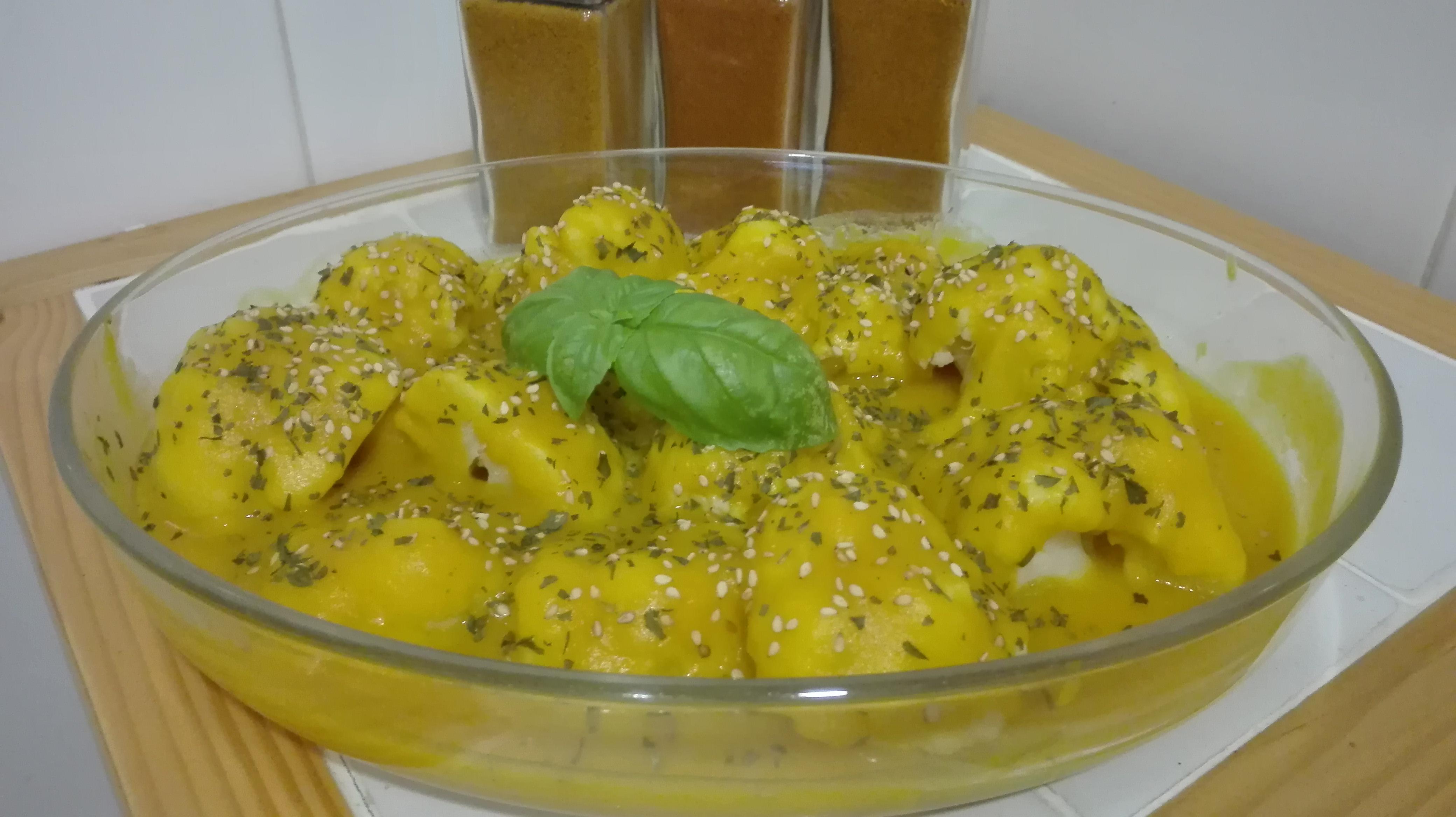 coliflor con salsa de calabaza
