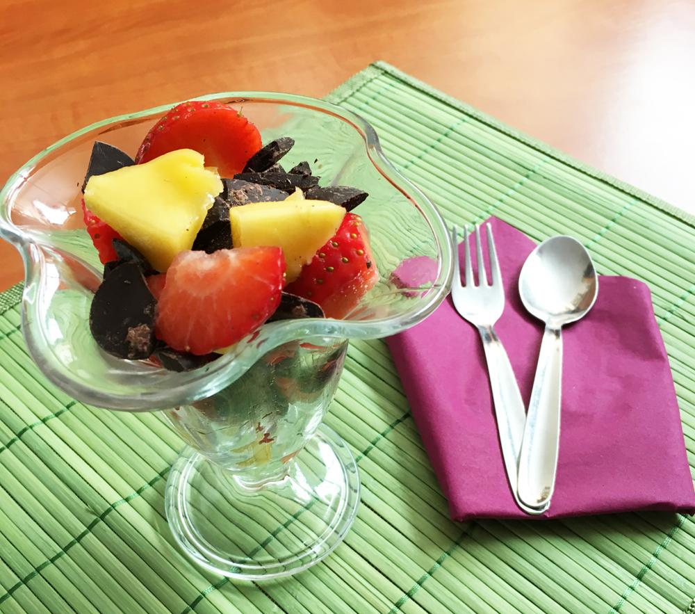 copa frutas y chocolate