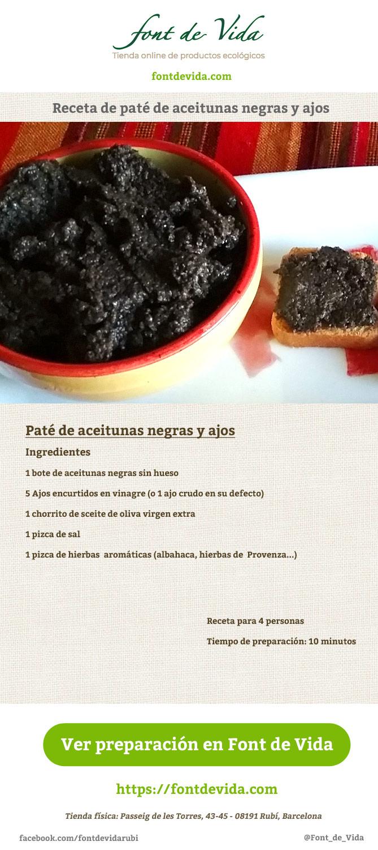 Receta de Pat de Aceitunas Negras y Ajos