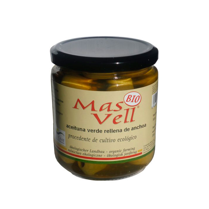 Aceituna verde rellena anchoa 350 gr Mas Vell
