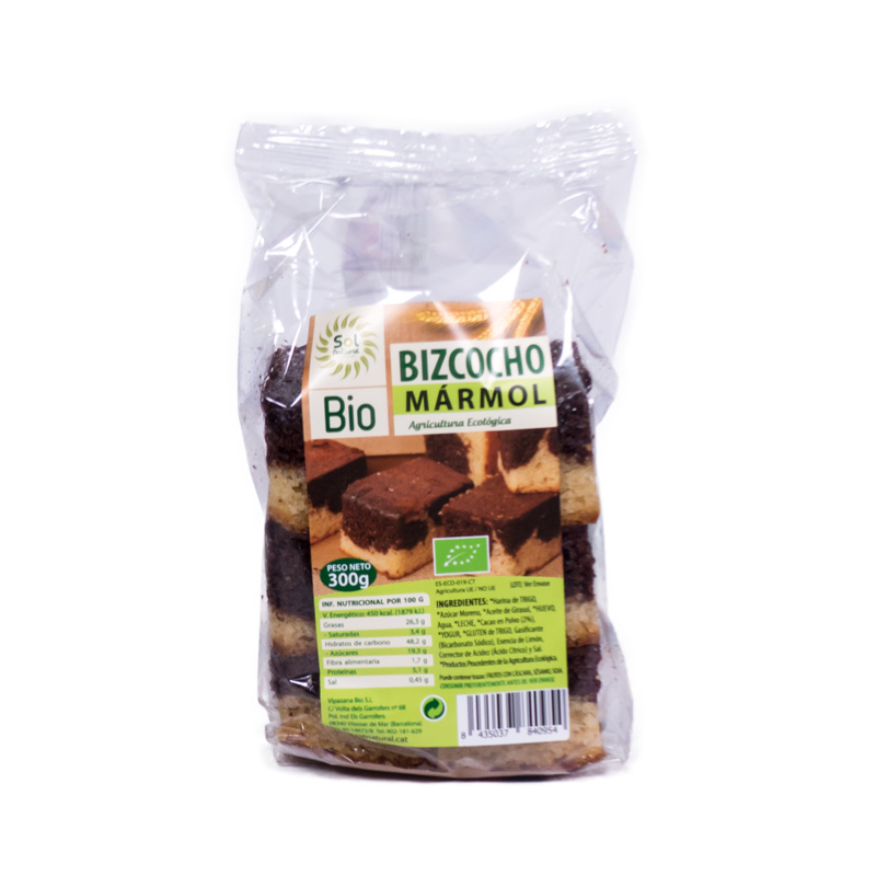 Bizcocho marmol chocolate 300gr Solnatural