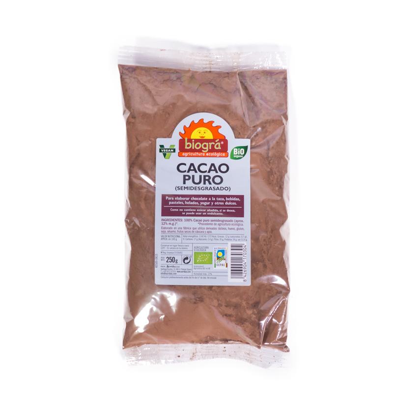 Cacao puro en polvo 250 gr. Biogra