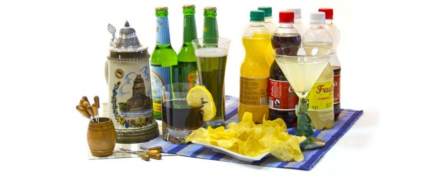 Cervezas, refrescos y aperitivos
