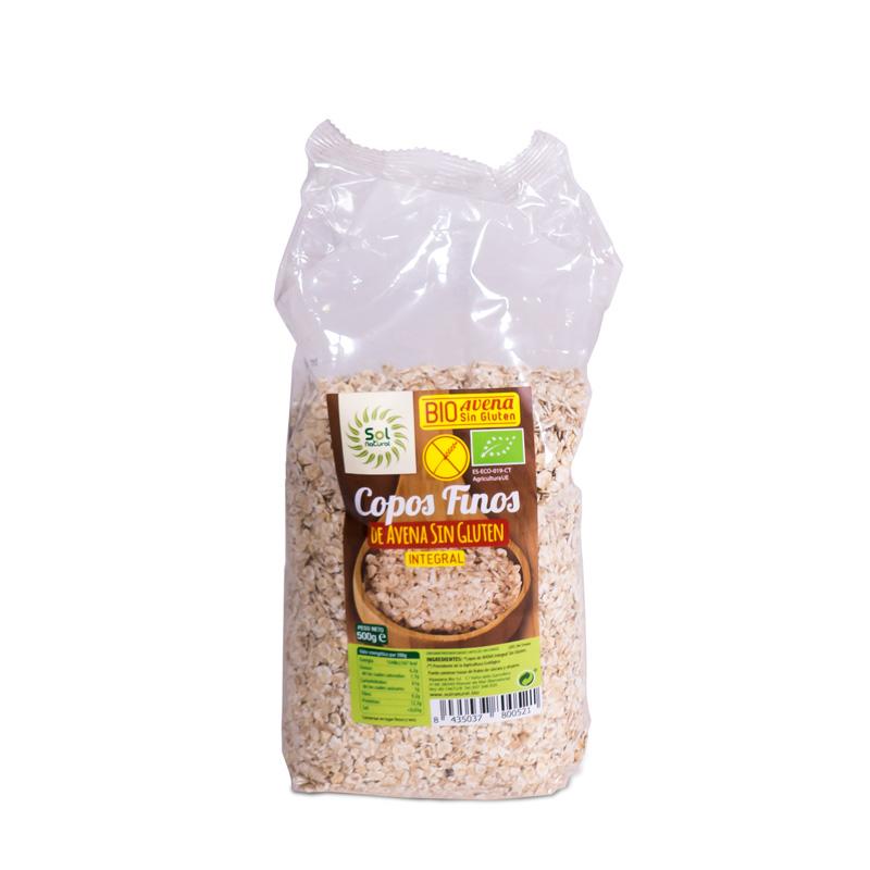 Copos avena finos sin gluten 500 gr. Sol natural
