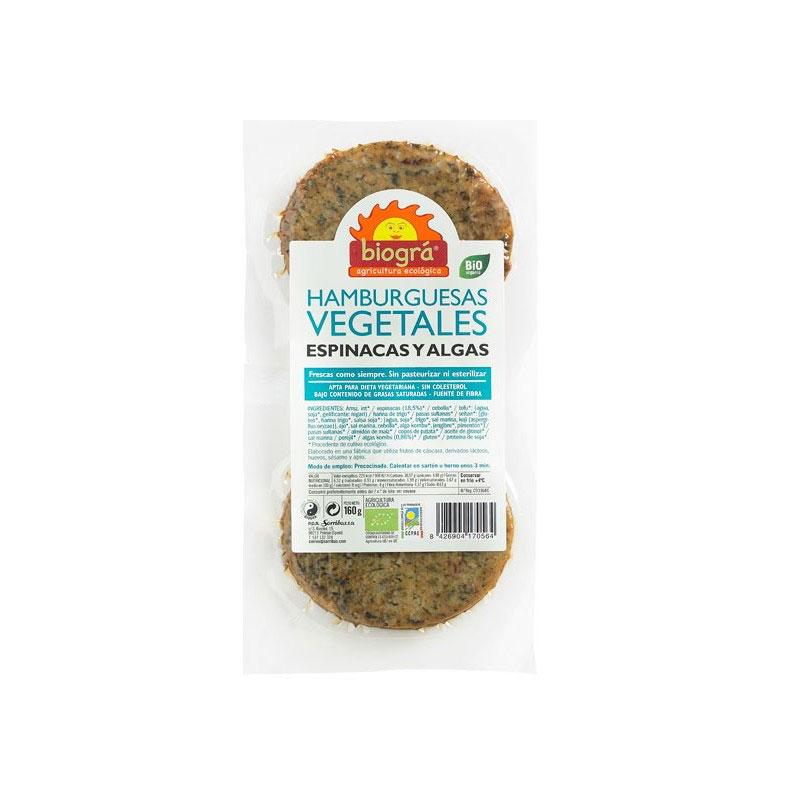 Hamb. tofu algas y espinacas 160 gr. Biográ