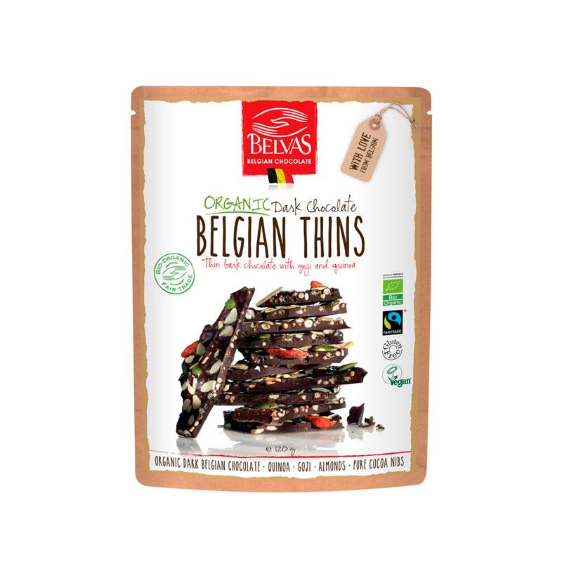 Laminas chocolate, goji y quinoa 120 gr. Belvas