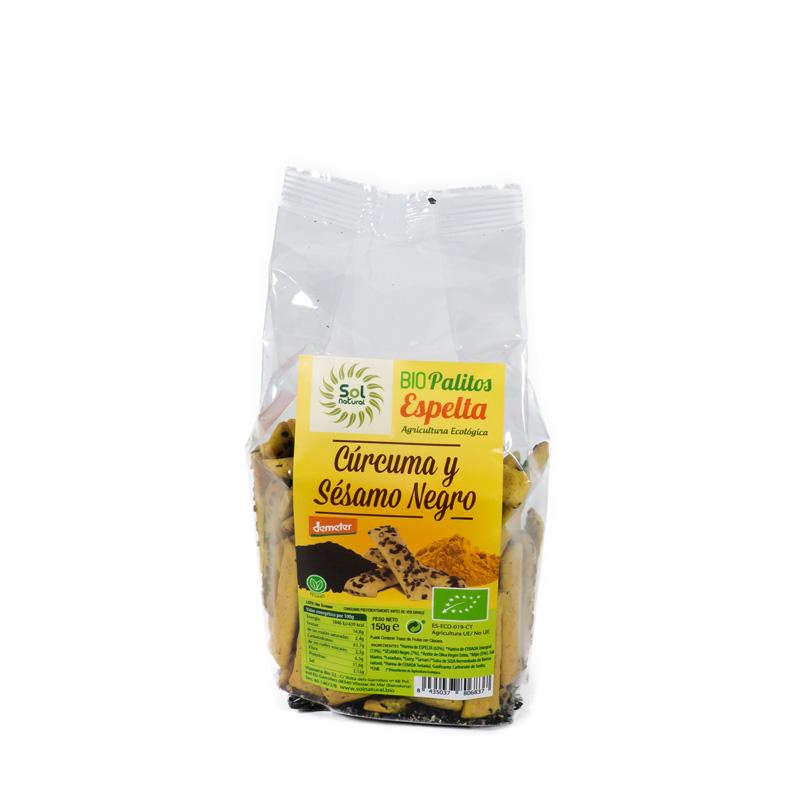 Palitos espelta curcuma-sesamo 150 gr. Sol Natural