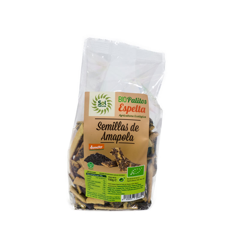 Palitos espelta semillas amapola 150 gr. Sol Natural