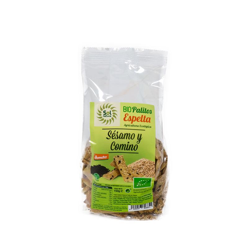 Palitos espelta sesamo-comino 150 gr. Sol Natural