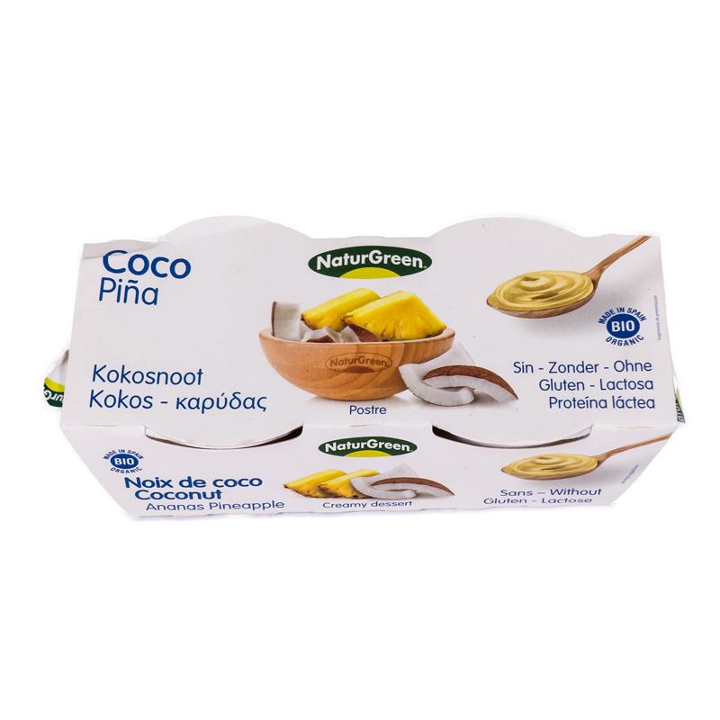 Postre de coco piña 2x125 gr Naturgreen