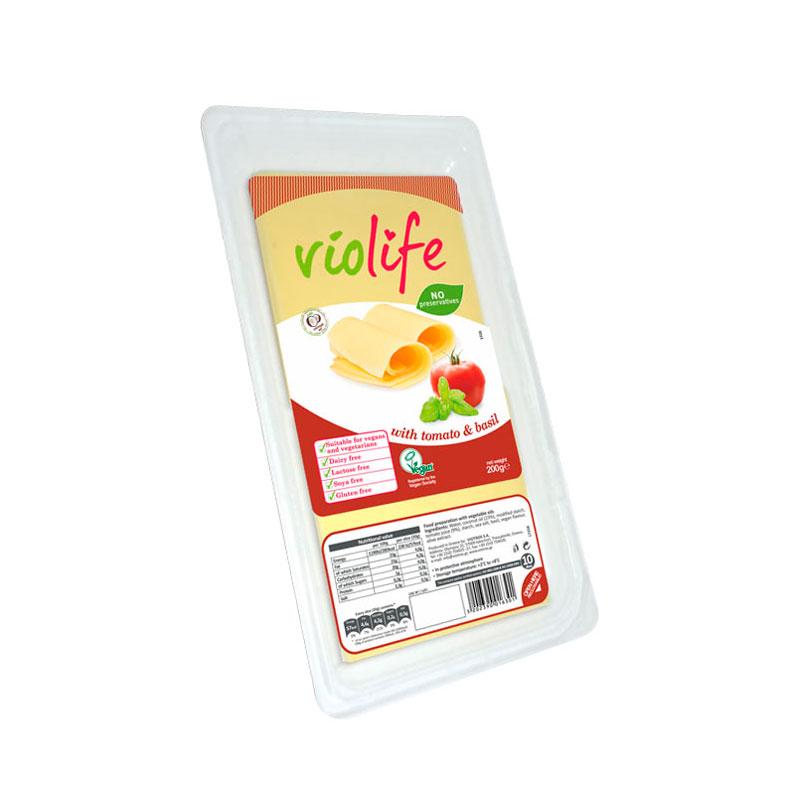 Queso vegano lonchas tomate albahaca 200gr.Violife