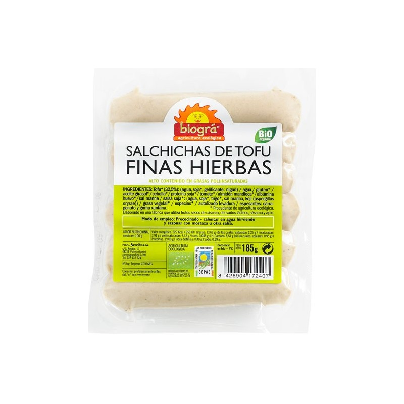Salchichas tofu finas hierbas 185gr Biográ