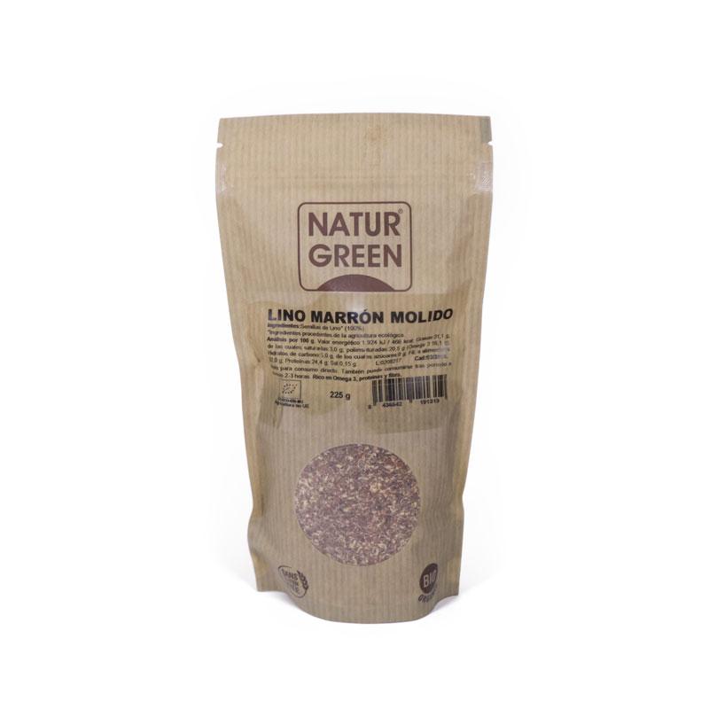 Semillas lino marrón molido 225 gr Naturgreen