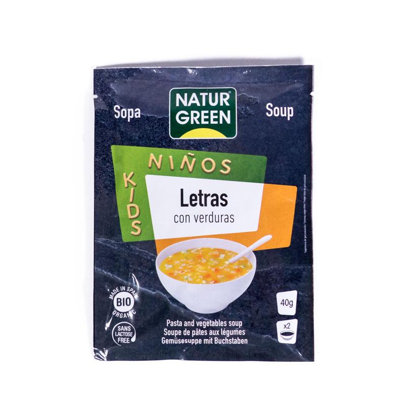 Sopa letras y verduras 40 gr. Naturgreen