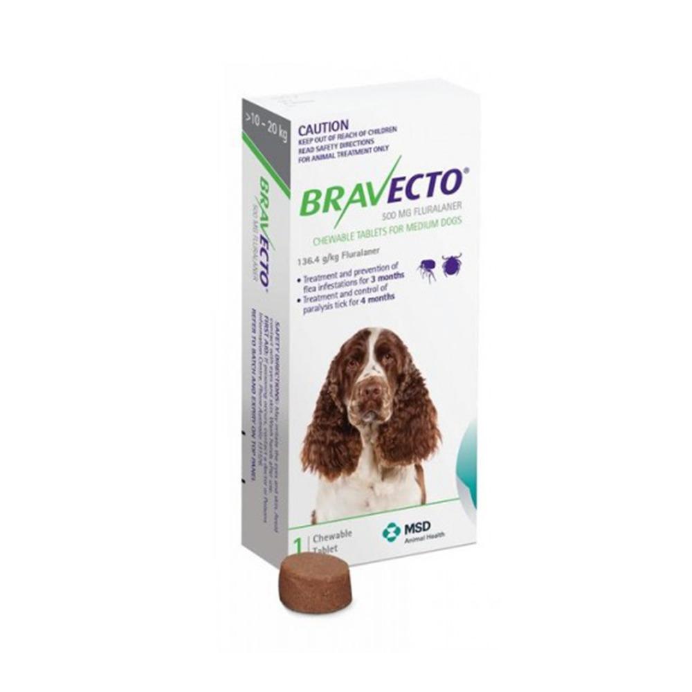 BRAVECTO PERRO 10-20kg 500mg (Verde) 2 COMPRIMIDOS