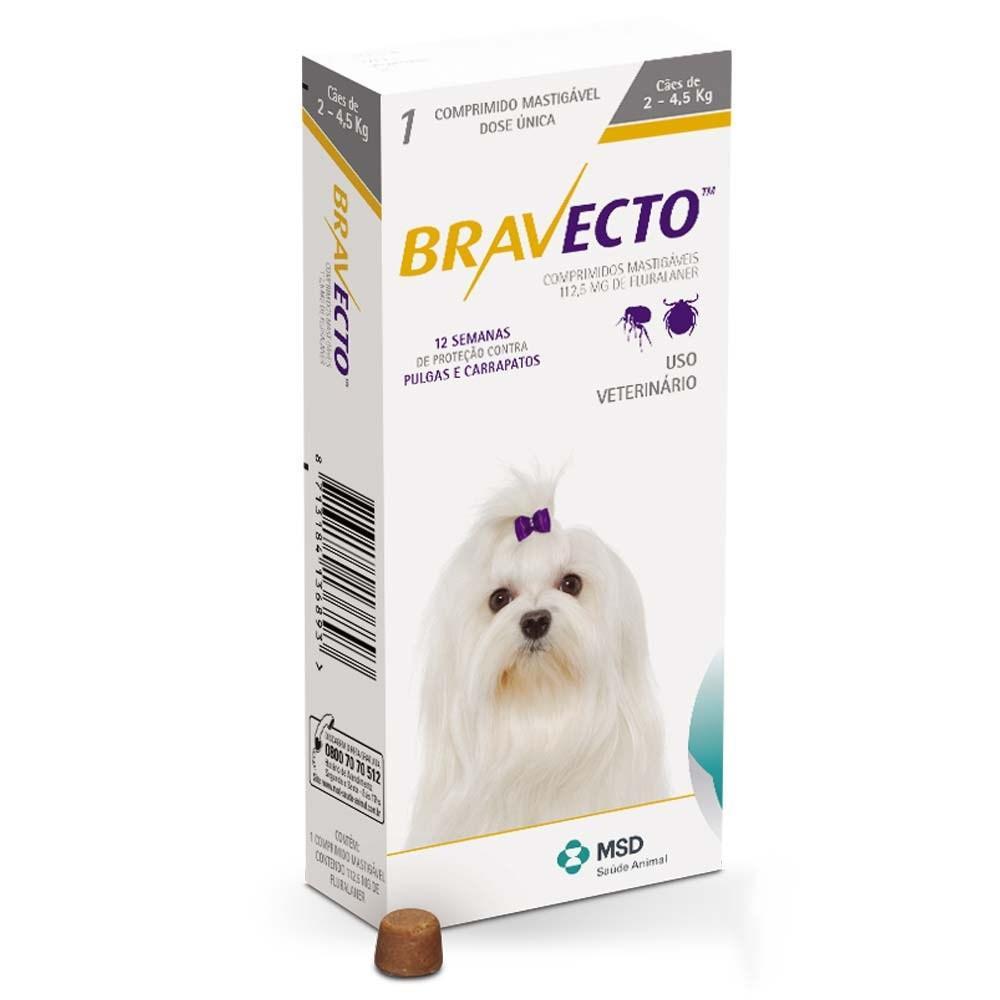 BRAVECTO PERRO 2.5-4.5kg 112.5mg (Amarillo) 2 COMPRIMIDOS