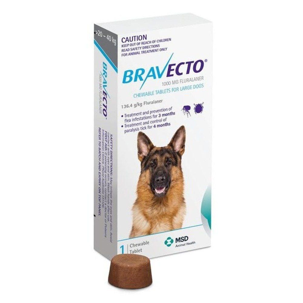 BRAVECTO PERRO 20-40kg 1000mg (Azul) 2 COMPRIMIDOS