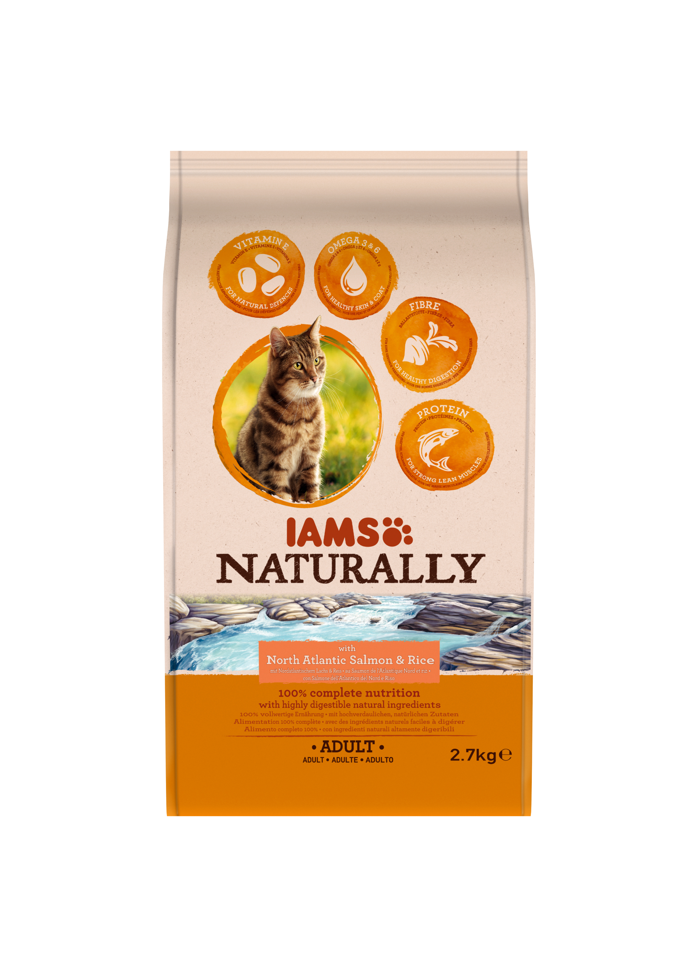 IAMS NATURALLY GATO SALMON Y ARROZ 2.7 KG