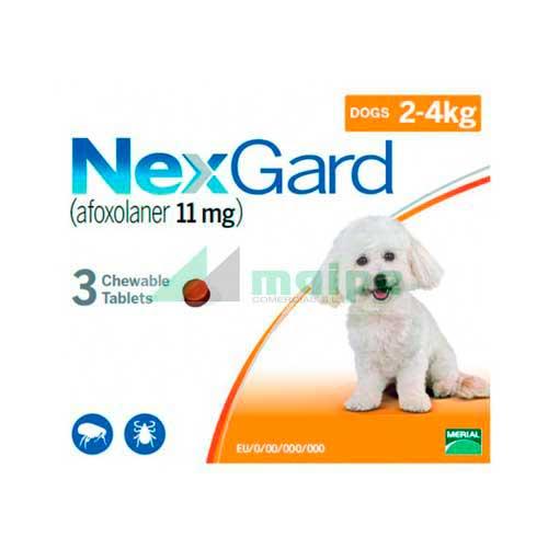 NexGard PERRO 2-4Kg 3 Comprimidos (Naranja)