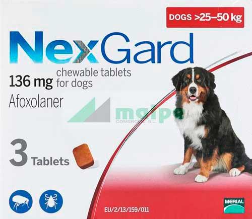 NexGard PERRO 25-50Kg 3 Comprimidos (Rojo)