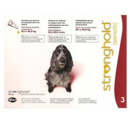 STRONGHOLD PERROS 10 a 20 kg 120mg 3 Pipetas