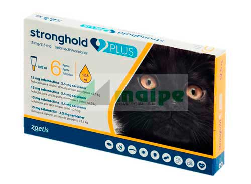 STRONGHOLD PLUS 15/2.5mg x 6 Pipetas <2.5kg (amarillo)
